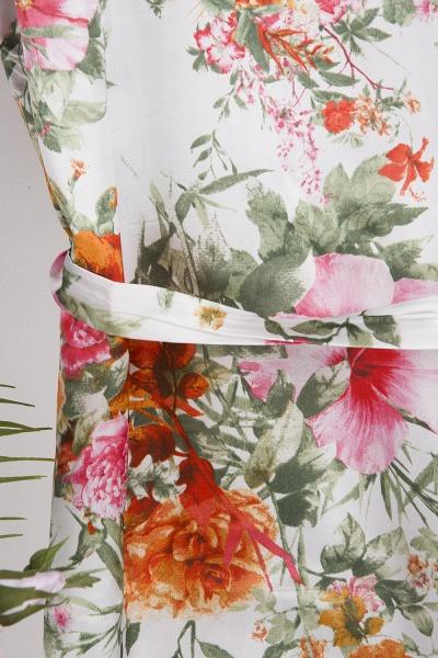 Short Sleeve Floral Print Bridesmaid Bridal Robes_7