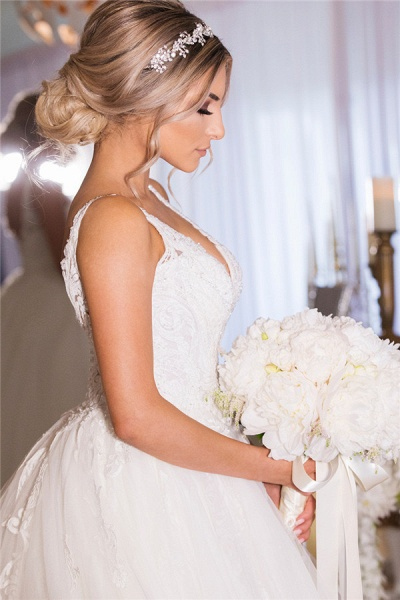 A-line Lace Tulle Ball Gown Wedding Dresses|Gorgeous Bridal Gowns_3