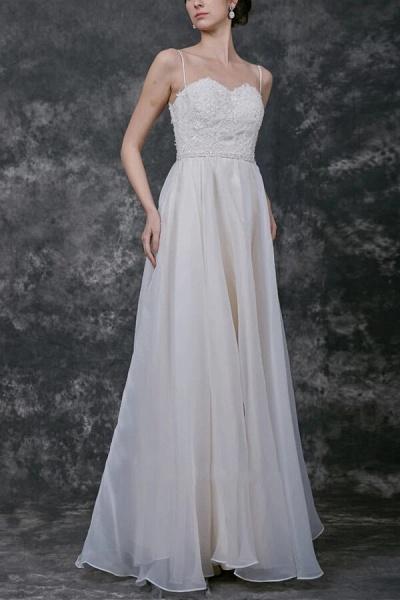 Open Back Spaghetti Strap Organza Wedding Dress_1