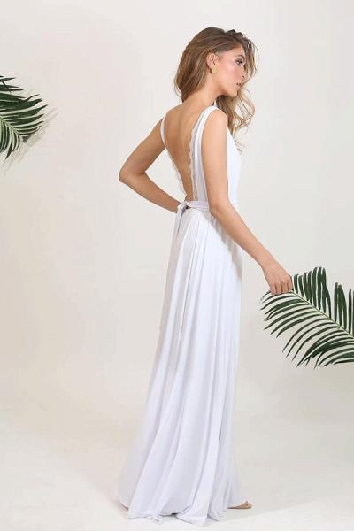 Open Back V-neck Lace Chiffon A-line Wedding Dress_5