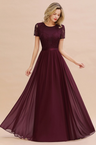 BM0831 Chiffon Lace Scoop Short Sleeve Bridesmaid Dress_47
