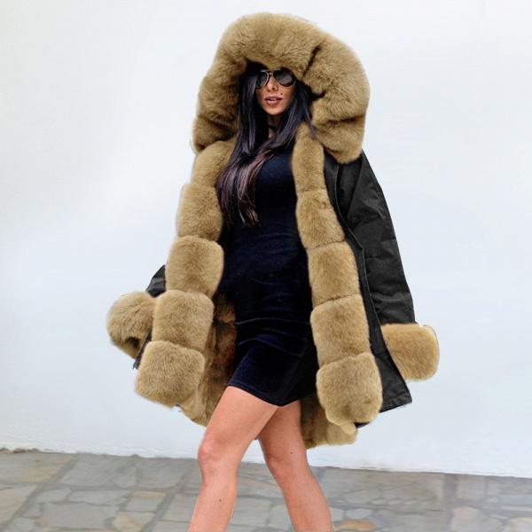 Winter Faux Fur-trimmed Long-length Overcoat_23