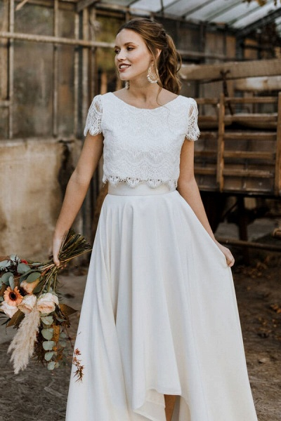Short Sleeve Lace High Low Two Piece Wedding Dress_4