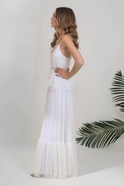 Spaghetti Strap Lace Chiffon Sheath Wedding Dress_4