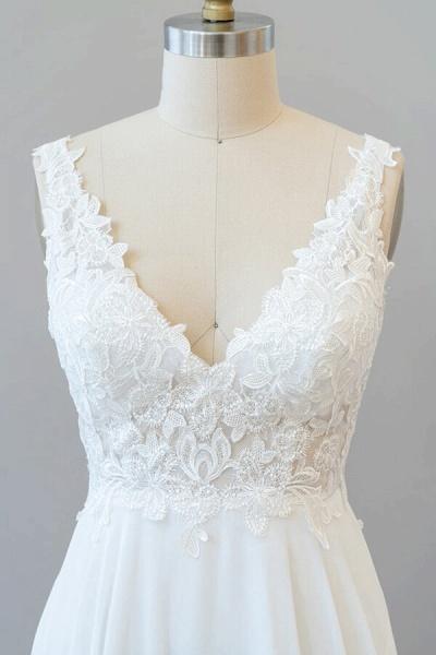 V-neck Appliques Chiffon A-line Wedding Dress_6