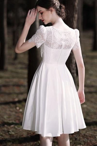 Short Sleeve Lace A-line Short Wedding Dress_7