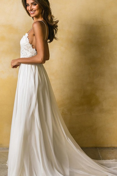 Appliques Spaghetti Strap Chiffon Wedding Dress_10