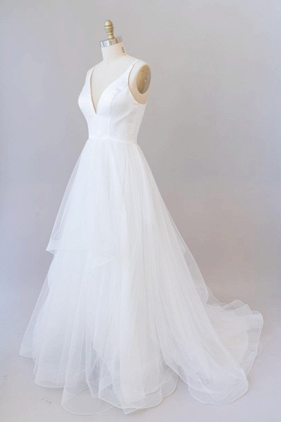 Beautiful V-neck Tulle A-line Wedding Dress_1