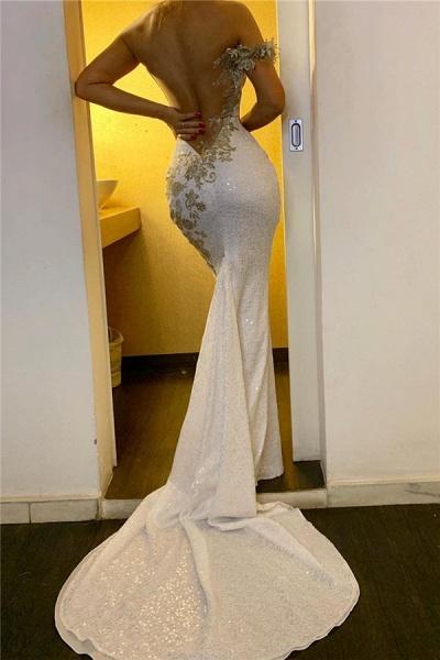 One Shoulder Appliques Sequined Evening Gowns Backless Elegant Formal Dresses_2