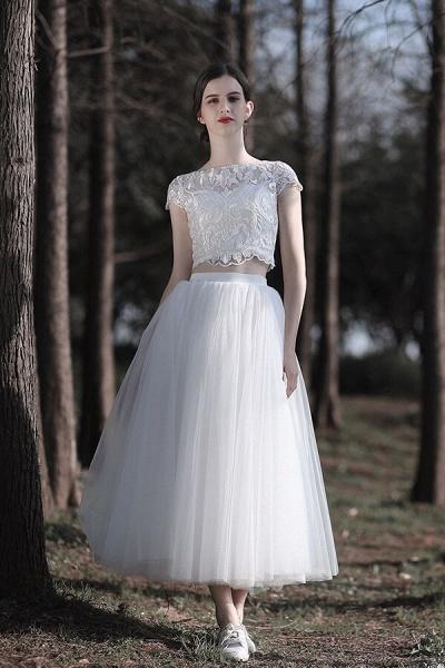 Latest Short Sleeve A-line Tulle Wedding Dress_1