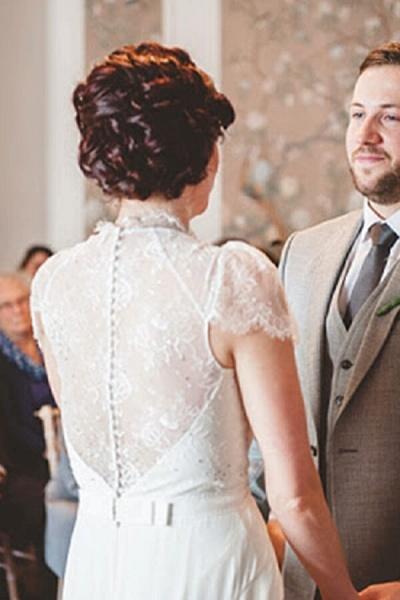 Cap Sleeve Ruffle Lace Chiffon Sheath Wedding Dress_9