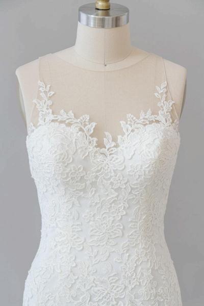 Graceful Illusion Appliques Mermaid Wedding Dress_6