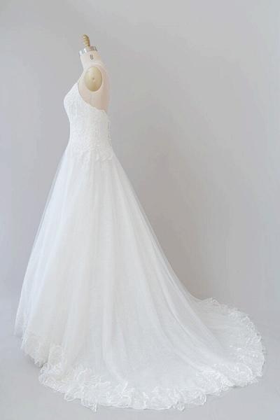 Spaghetti Strap Applique Tulle A-line Wedding Dress_5