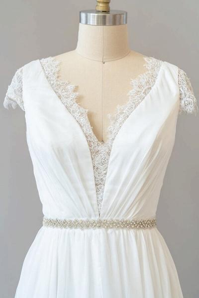 Cap Sleeve V-neck Lace Chiffon Sheath Wedding Dress_5