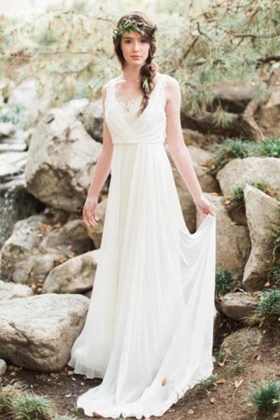 Open Back Ruffle Lace Chiffon A-line Wedding Dress_5