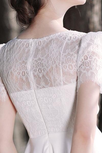Short Sleeve Lace A-line Short Wedding Dress_12