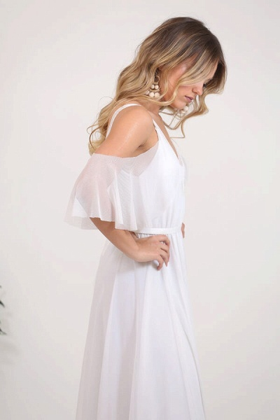 V-neck Cold Shoulder Chiffon A-line Wedding Dress_7