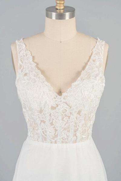 V-neck Appliques Tulle A-line Wedding Dress_6