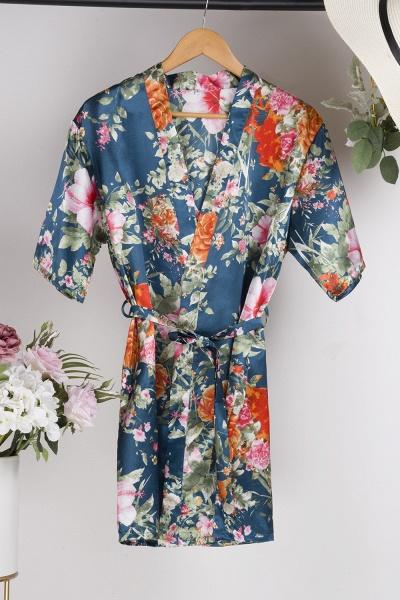 Short Sleeve Floral Print Bridesmaid Bridal Robes_26