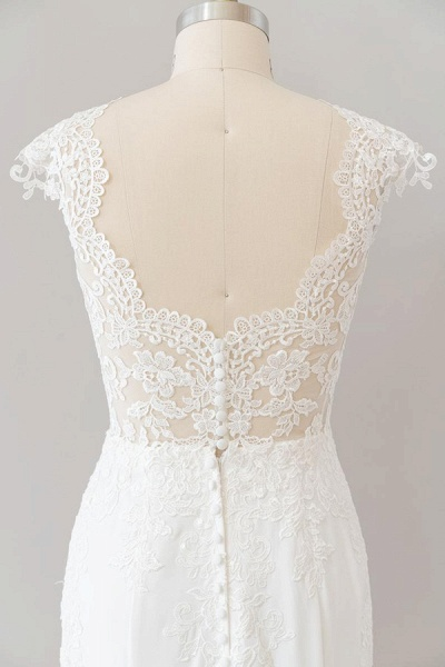 Cap Sleeve Illusion Lace Sheath Wedding Dress_8