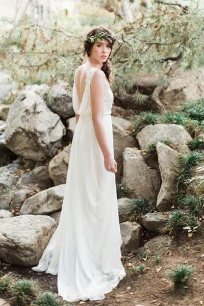 Open Back Ruffle Lace Chiffon A-line Wedding Dress_6