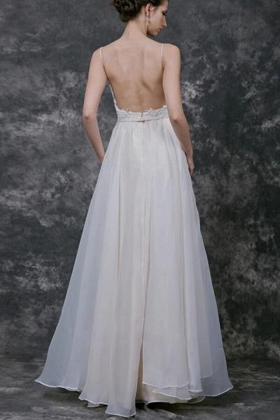 Open Back Spaghetti Strap Organza Wedding Dress_3