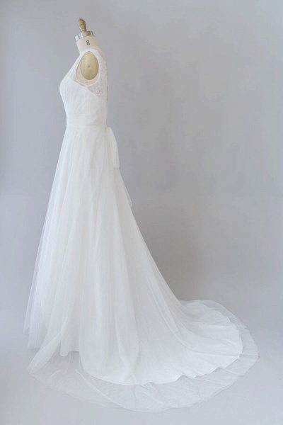 Ruffle V-neck Lace Tulle A-line Wedding Dress_4