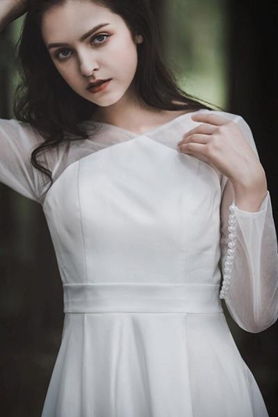 Elegant Long Sleeve Satin A-line Wedding Dress_9