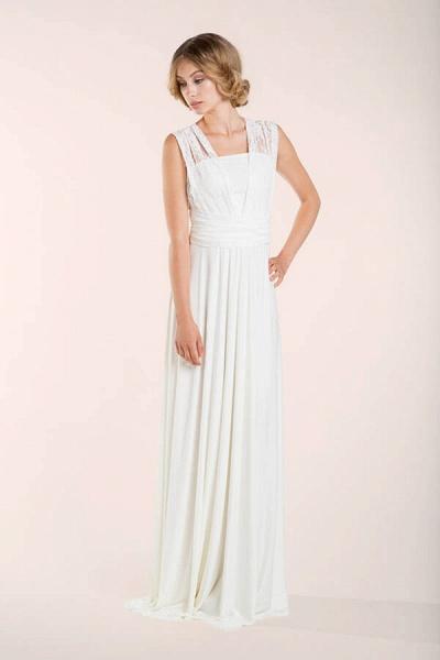 Convertible Lace Floor Length Sheath Wedding Dress_7