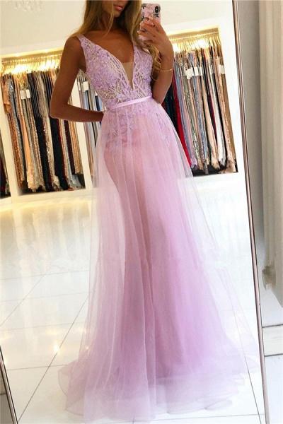 Straps A-line Lace V-neck Evening Dresses_1