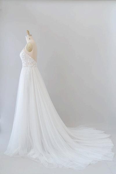 Amazing Chapel Train Appliques Tulle Wedding Dress_4