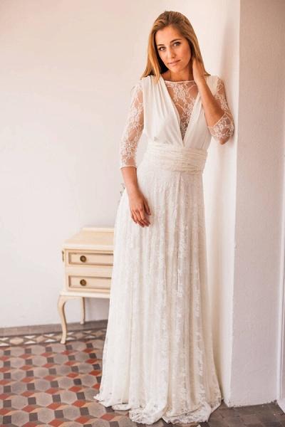 Amazing Lace Chiffon Floor Length Wedding Dress_4