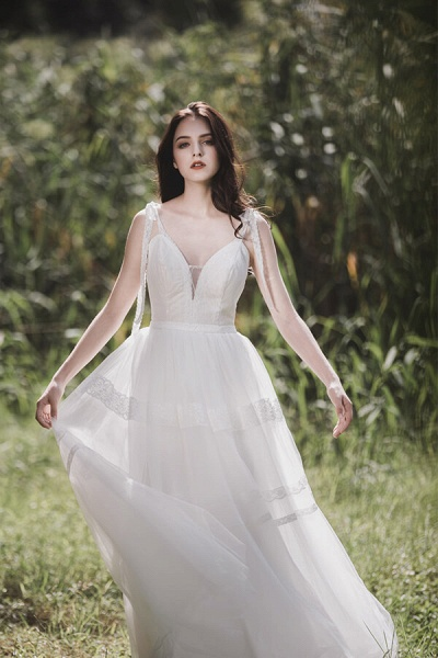 Eye-catching Lace Tulle A-line Wedding Dress_2