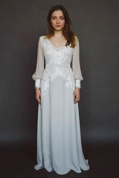 V-neck Long Sleeve Appliques Chiffon Wedding Dress_1