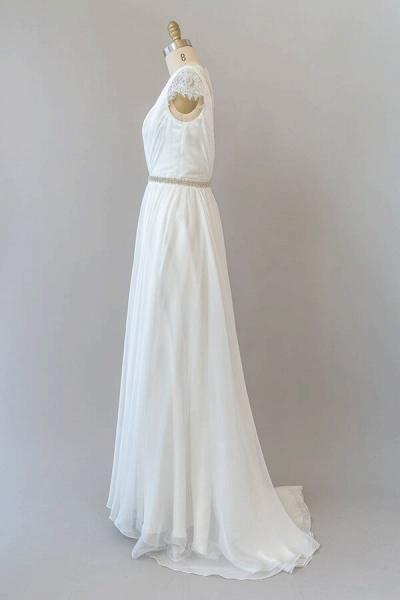 Cap Sleeve V-neck Lace Chiffon Sheath Wedding Dress_4