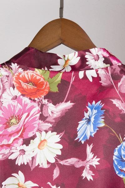Short Sleeve Floral Print Bridesmaid Bridal Robes_22