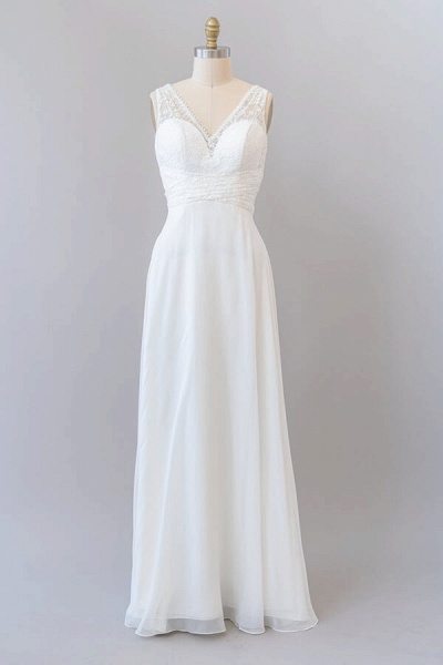 Empire V-neck Lace Chiffon A-line Wedding Dress_1