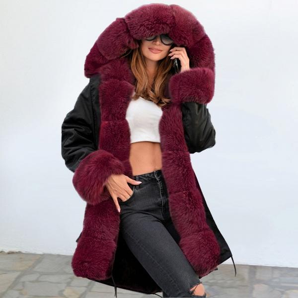 Winter Faux Fur-trimmed Long-length Overcoat_24