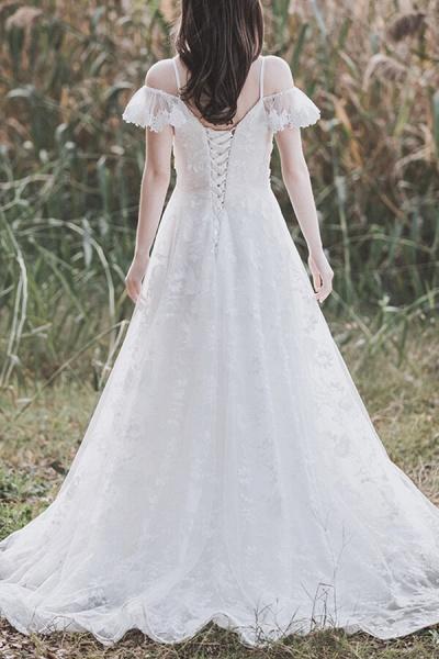 Cold-shoulder Lace Tulle A-line Wedding Dress_4