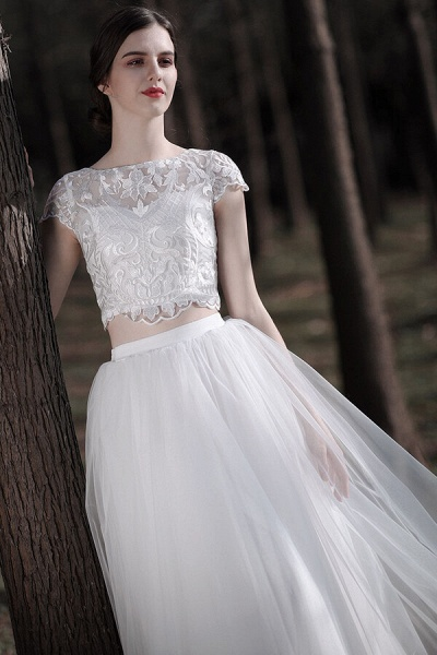 Latest Short Sleeve A-line Tulle Wedding Dress_6