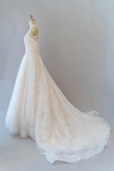 V-neck Appliques Tulle Chapel Train Wedding Dress_4