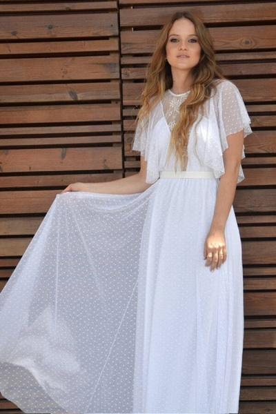 Polka Dot Short Sleeve Lace Tulle Wedding Dress_6