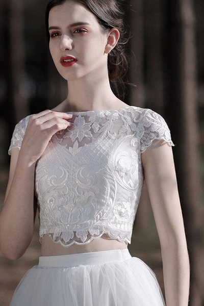 Latest Short Sleeve A-line Tulle Wedding Dress_8