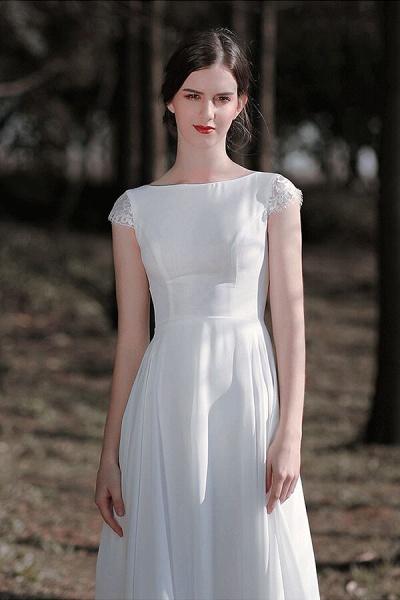Chic Cap Sleeve Lace Chiffon A-line Wedding Dress_7