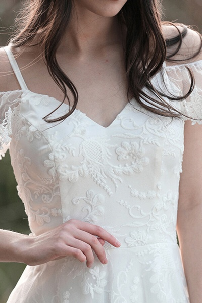 Cold-shoulder Lace Tulle A-line Wedding Dress_14
