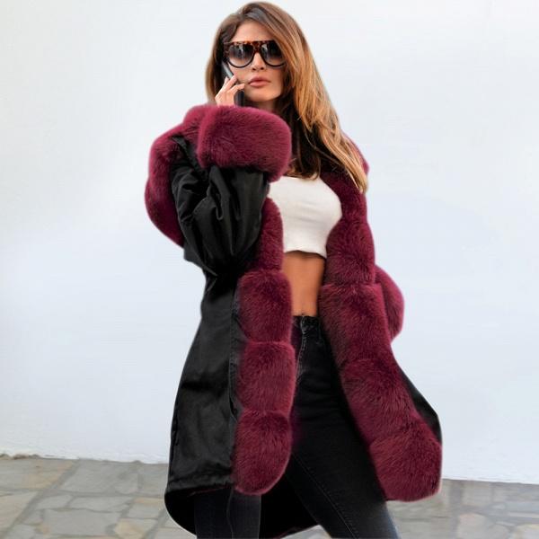 Winter Faux Fur-trimmed Long-length Overcoat_26