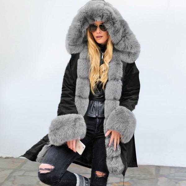Winter Faux Fur-trimmed Long-length Overcoat_8