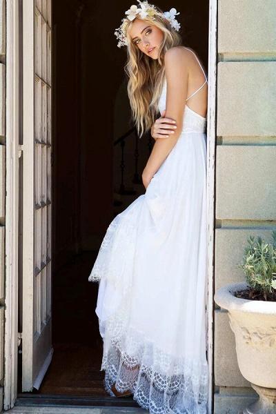 Amazing Spaghetti Strap Lace Chiffon Wedding Dress_8