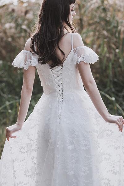 Cold-shoulder Lace Tulle A-line Wedding Dress_9