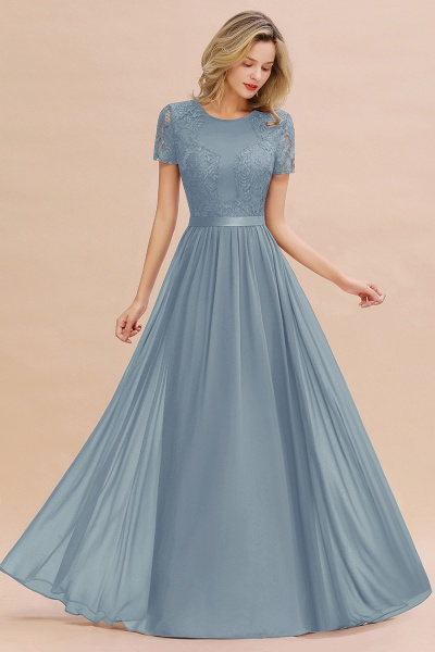 BM0831 Chiffon Lace Scoop Short Sleeve Bridesmaid Dress_40